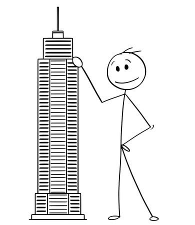 Cartoon stick man dibujo ilustración conceptual del empresario de pie con el modelo de construcción de rascacielos. Concepto de negocio de arquitectura e inversión inmobiliaria.