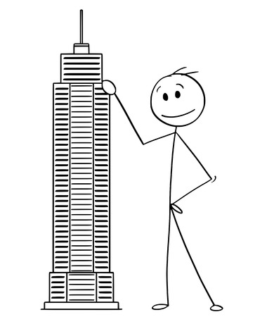 Cartoon stick man drawing conceptual illustration of businessman standing with skyscraper building model. Business concept of architecture and real estate investment.