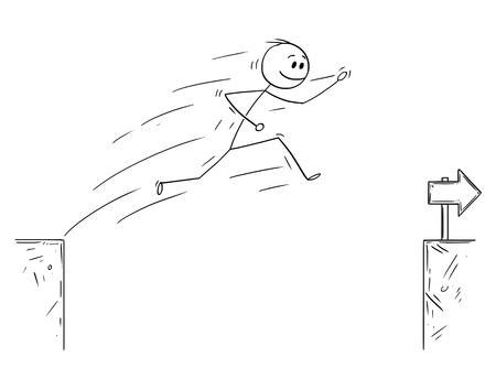 Cartoon stick man drawing conceptual illustration of businessman jumping over the chasm. Business concept of overcoming obstacle and facing challenge.