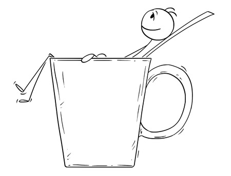 Cartoon stick drawing conceptual illustration of man or businessman relaxing in big cup or mug of coffee or tea. Çizim