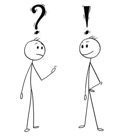 Cartoon stick man drawing conceptual illustration of two men or businessmen talking. One with question mark above head and second with exclamation symbol. Stock Illustratie