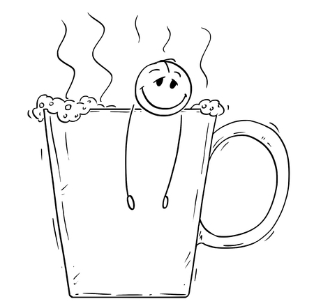 Cartoon stick drawing conceptual illustration of relaxed and happy man or businessman taking a bath in big cup of coffee. Concept of caffeine addiction.