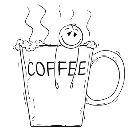 Bâton de dessin animé dessin illustration conceptuelle d'un homme détendu et heureux ou homme d'affaires prenant un bain dans une grande tasse de café. Concept de dépendance à la caféine.