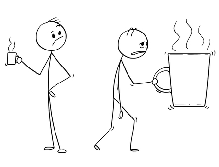 Cartoon stick man drawing conceptual illustration of tired and overworked businessman carrying big cup or mug of coffee or tea. Concept of stress and burning out.