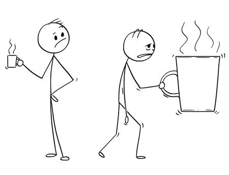 Karikaturstockmann, der konzeptionelle Illustration des müden und überarbeiteten Geschäftsmannes zeichnet, der große Tasse oder Tasse Kaffee oder Tee trägt. Konzept von Stress und Ausbrennen. Standard-Bild