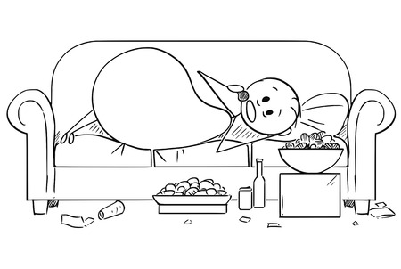 Cartoon stick drawing illustration of fat or overweight man lying on couch and eating unhealthy food. Concept of unhealthy lifestyle. Stock Illustratie