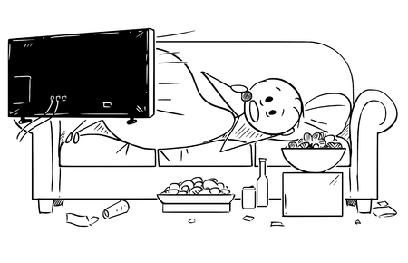 Cartoon stick drawing illustration of fat or overweight man lying on couch, watching tv or television and eating unhealthy food. Concept of unhealthy lifestyle.