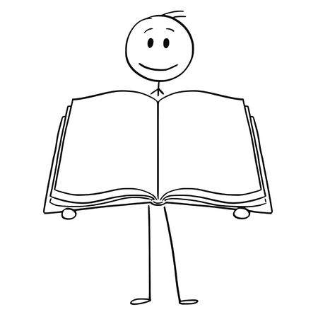 Cartoon stick drawing conceptual illustration of man or businessman holding open empty book.