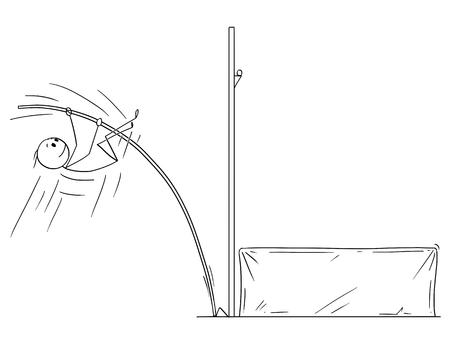 Cartoon stick drawing conceptual illustration of athlete doing pole vaulting. Illustration