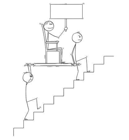 Cartoon stick drawing conceptual illustration of two men, businessmen or slaves carrying boss, manager or lord holding empty sign upstairs in litter or sedan chair. Business concept of subordination, leadership and teamwork.