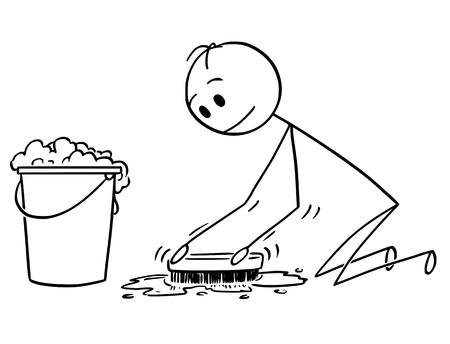 Cartoon Stick Zeichnung konzeptionelle Illustration des Mannes Reinigung oder Bürsten des Bodens mit Scheuerbürste.