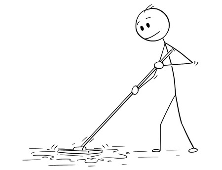 Cartoon stick drawing conceptual illustration of man cleaning floor with mop. 矢量图像