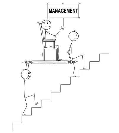 Cartoon stick drawing conceptual illustration of two men, businessmen or slaves carrying boss, manager or lord holding management sign upstairs in litter or sedan chair. Business concept of subordination, cooperation and teamwork. 일러스트