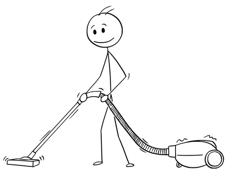 Cartoon stick drawing conceptual illustration of man cleaning floor or carpet with vacuum cleaner or hoover.