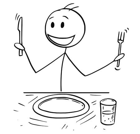 Cartoon stick dessin illustration d'un homme affamé enthousiaste tenant une fourchette et un couteau assis à table et attendant de la nourriture.