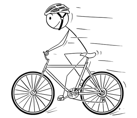 Cartoon stick drawing illustration of man in helmet riding or cycling on bicycle.