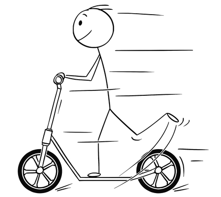 Cartoon stick drawing illustration of man or boy riding the scooter.