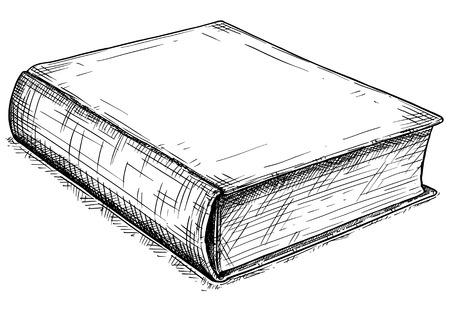 Vector artistico penna e inchiostro disegno illustrazione del vecchio libro chiuso. Vettoriali