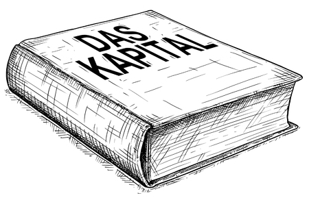 Vector artistic pen and ink conceptual drawing illustration of book Das Kapital or Capital , Critique of political economy, written by Karl Marx. Illustration