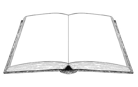 Vector artistico penna e inchiostro disegno illustrazione del vecchio libro aperto con pagine bianche vuote o vuote. Vettoriali