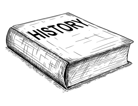 Vector artistic pen and ink drawing illustration of old closed history book.