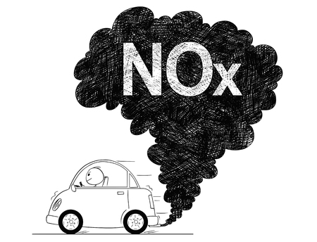 Vector artistic pen and ink drawing illustration of smoke coming from car exhaust into air. Environmental concept of NOx or nitrogen oxides pollution.