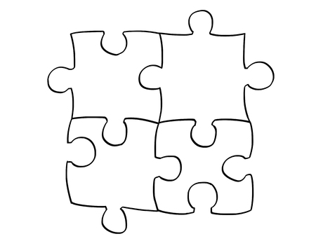 Vector artistic pen and ink drawing illustration of four jigsaw puzzle pieces.