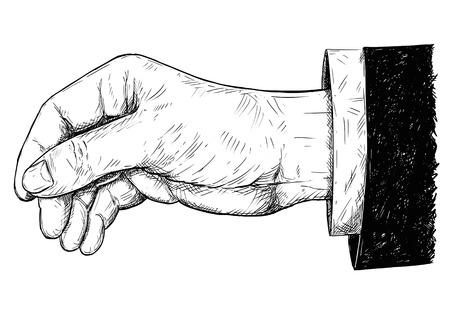 Vector ilustración de dibujo artístico con pluma y tinta de la mano en traje sosteniendo algo fino como papel entre los dedos.
