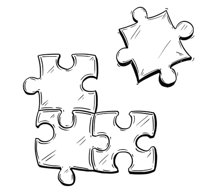 Vector artistic pen and ink drawing illustration of four jigsaw puzzle pieces, one of them is not connected. Business concept of teamwork, cooperation and problem solution.