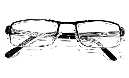 Vector artistic pen and ink sketch drawing illustration of glasses.