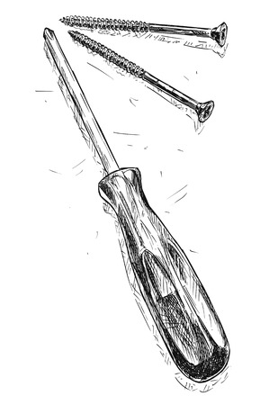 Vector artistic pen and ink drawing illustration of cross-point screwdriver and two wood screws.