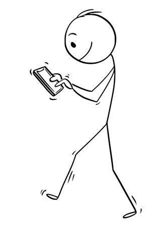 Cartoon stick drawing conceptual illustration of online man or businessman walking with mobile phone.