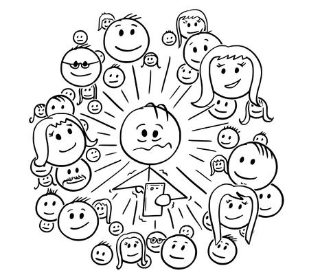 Bâton de dessin animé dessinant une illustration conceptuelle d'un homme frustré ou stressé et de ses connexions aux réseaux sociaux, amis ou communauté. Concept de dépendance aux médias sociaux. Vecteurs
