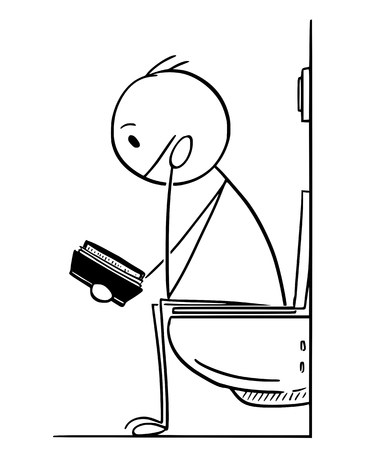 Cartoon stick drawing conceptual illustration of man or businessman reading book while sitting on toilet in bathroom. Illustration