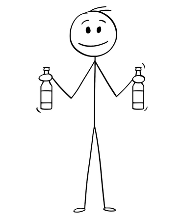 Cartoon stick drawing conceptual illustration of man going on party and holding two bottles of beer.