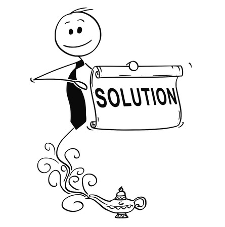 Cartoon stick drawing conceptual illustration of genie businessman appearing from Aladdin lamp to offer problem solution. Business concept of outsourced assistance.