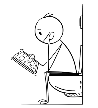 Cartoon stick drawing conceptual illustration of man or businessman working, reading or messaging on tablet while sitting on toilet in bathroom.