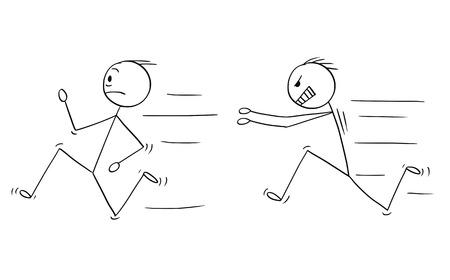 만화 막대기는 다른 남자를 쫓는 화난 폭력적인 남자의 개념적 삽화를 그립니다. 벡터 (일러스트)