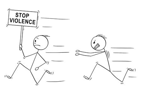 Cartoon stick dessin illustration conceptuelle d'un homme violent en colère chassant un autre homme tenant un panneau d'arrêt de la violence.