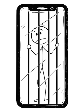 Cartoon stick drawing conceptual illustration of man or businessman trapped inside of his mobile phone. Concept of addiction and dependence.