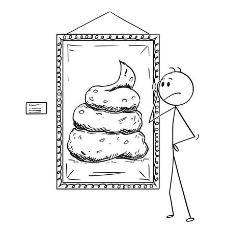 Cartoon stick disegno illustrazione concettuale di un uomo insoddisfatto guardando l'arte moderna pittura di merda in galleria. Vettoriali