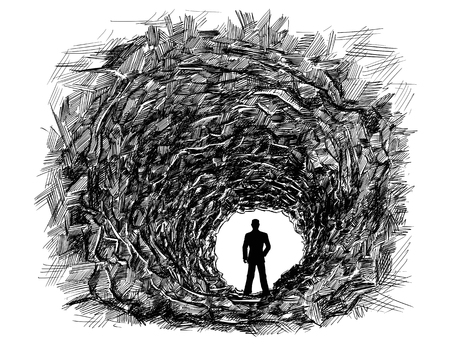 Vector artistic pen and ink drawing illustration of dark rough cave tunnel in rock.Silhouette or man or businessman standing in light at the end. Business concept.