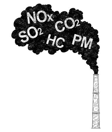 Illustrazione artistica del disegno a penna e inchiostro vettoriale del fumo proveniente dall'industria o dalla ciminiera della fabbrica o dal camino nell'aria. Concetto ambientale di inquinamento.