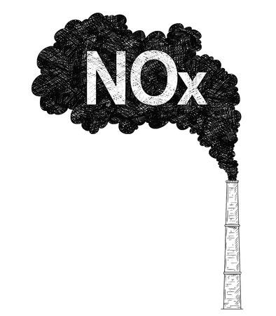 Vector künstlerische Feder- und Tintenzeichnungsillustration von Rauch, der aus Industrie oder Fabrikschornstein oder Schornstein in die Luft kommt. Umweltkonzept von Stickoxiden oder NOx-Belastung. Vektorgrafik