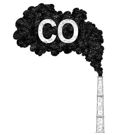 Vector artistic pen and ink drawing illustration of smoke coming from industry or factory smokestack or chimney into air. Environmental concept of carbon monoxide or CO pollution.