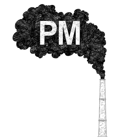 Vector artistic pen and ink drawing illustration of smoke coming from industry or factory smokestack or chimney into air. Environmental concept of particulate matter or PM pollution.