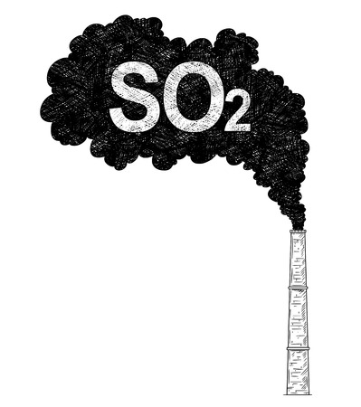 Vector artistic pen and ink drawing illustration of smoke coming from industry or factory smokestack or chimney into air. Environmental concept of sulfur dioxide or SO2 pollution.