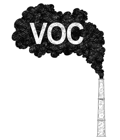 Vector artistic pen and ink drawing illustration of smoke coming from industry or factory smokestack or chimney into air. Environmental concept of VOC or volatile organic compound pollution.