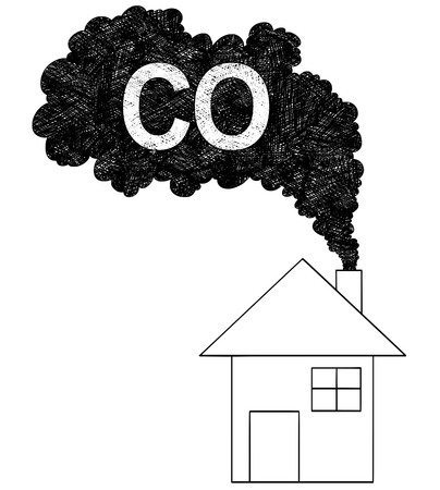 Vector artistic pen and ink drawing illustration of smoke coming from house chimney into air. Environmental concept of carbon monoxide or CO pollution.