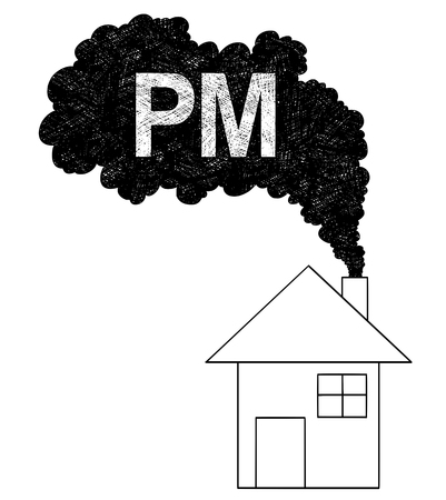 Vector artistic pen and ink drawing illustration of smoke coming from house chimney into air. Environmental concept of particulate matter or PM pollution. Illustration